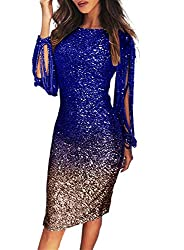 Sequin Tassel Sleeve Cocktail Party Multi-Blue Colour Dress