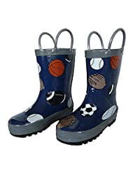 Foxfire For Kids Navy With Gray Trim Baseball Football Soccer Basketball Pattern Rain Boots