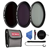 Beschoi 77MM Neutral Density ND Filter Set (ND2 ND4 ND8), Camera Lens Accessory Kit (Center Pinch Lens Cap, Cap Keeper, Lens Cleaning Pen, Filter Pouch, Microfiber Cleaning Cloth)