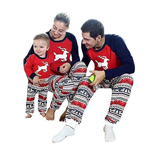 Fheaven (TM) Family Christmas Pajamas Set Women Men Baby Kids Tops Pants Sleepwear Nightwear Christmas Christmas (0-24 Months, Red (Baby))