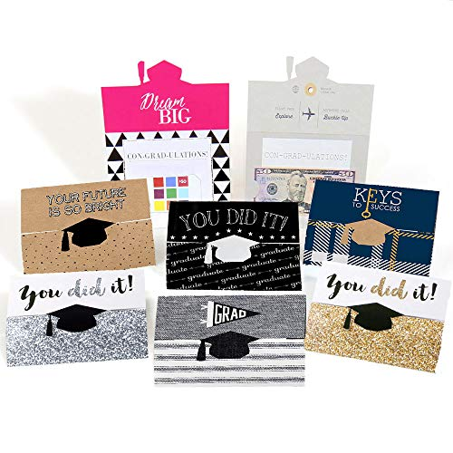 Assorted Graduation Cards - Graduation Party Money Holder Cards - Set of 8 (Holders Graduation Gift Card)