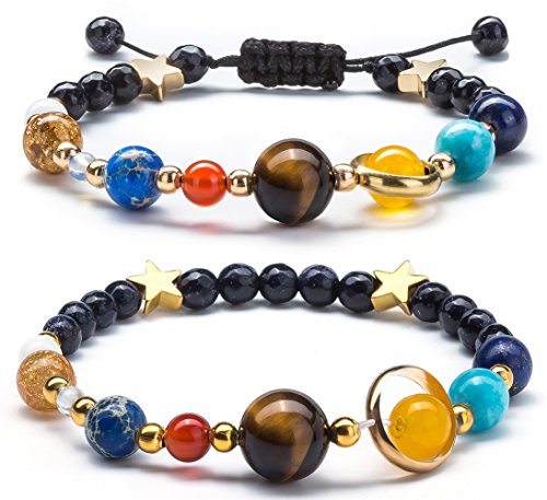Lapis Star Bracelet (Fesciory Women Men Solar System Bracelet Universe Galaxy The Eight Planets Guardian Star Natural Stone Beads Bracelet Bangle(2 Pcs Set))