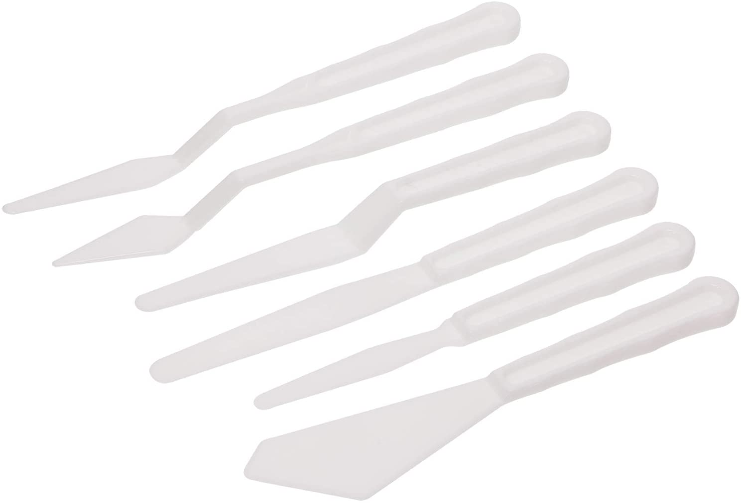 6Pcs White Art Artist Paint Spatula Tools
