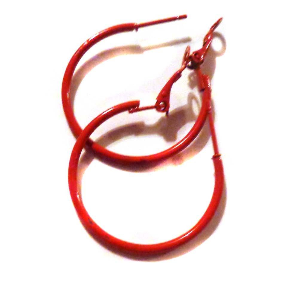Color Hoop Earrings Simple Thin Hoop Earrings 1 Inch Red Hoop Earrings NA