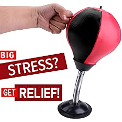 REEHUT Stress Relief Desktop Punching Ball with Strong Suction Cup - Pump Included - Stress Buster Speed Bag Withstanding Crosses, Hooks, Office Toys for Adult, Stress Ball for Kids - Black & Red