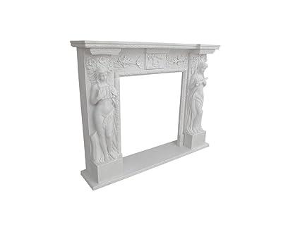 Camino In Marmo Bianco : Camino in marmo bianco di calacatta e marmo rosso asiago