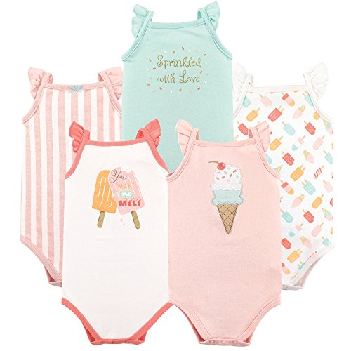 Hudson Baby Unisex Baby Sleeveless Cotton Bodysuits, ice Cream 5-Pack, 6-9 Months (9M)