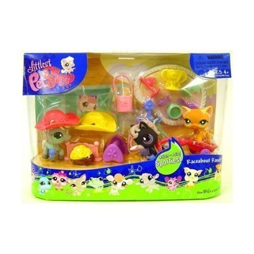 (Littlest Pet Shop - Sportiest - RACEABOUT RANCH - Super-Set with black Pony #523 & gray Pony # 524 & Cat # 525 - and lots of Accessories)