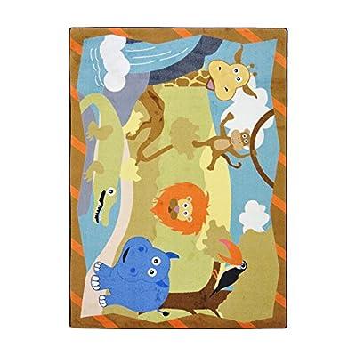 "Joy Carpets Kid Essentials Infants & Toddlers Jungle Babies Rug, Multicolored, 7'8"" x 10'9"""