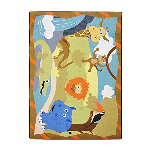 Joy Carpets Kid Essentials Infants & Toddlers Jungle Babies Rug, Multicolored, 3'10'' x 5'4'' by Joy Carpets