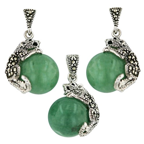Marcasite Sterling Sivler New Jade Ball with Cougar Earring and Pendant Neckalace 18