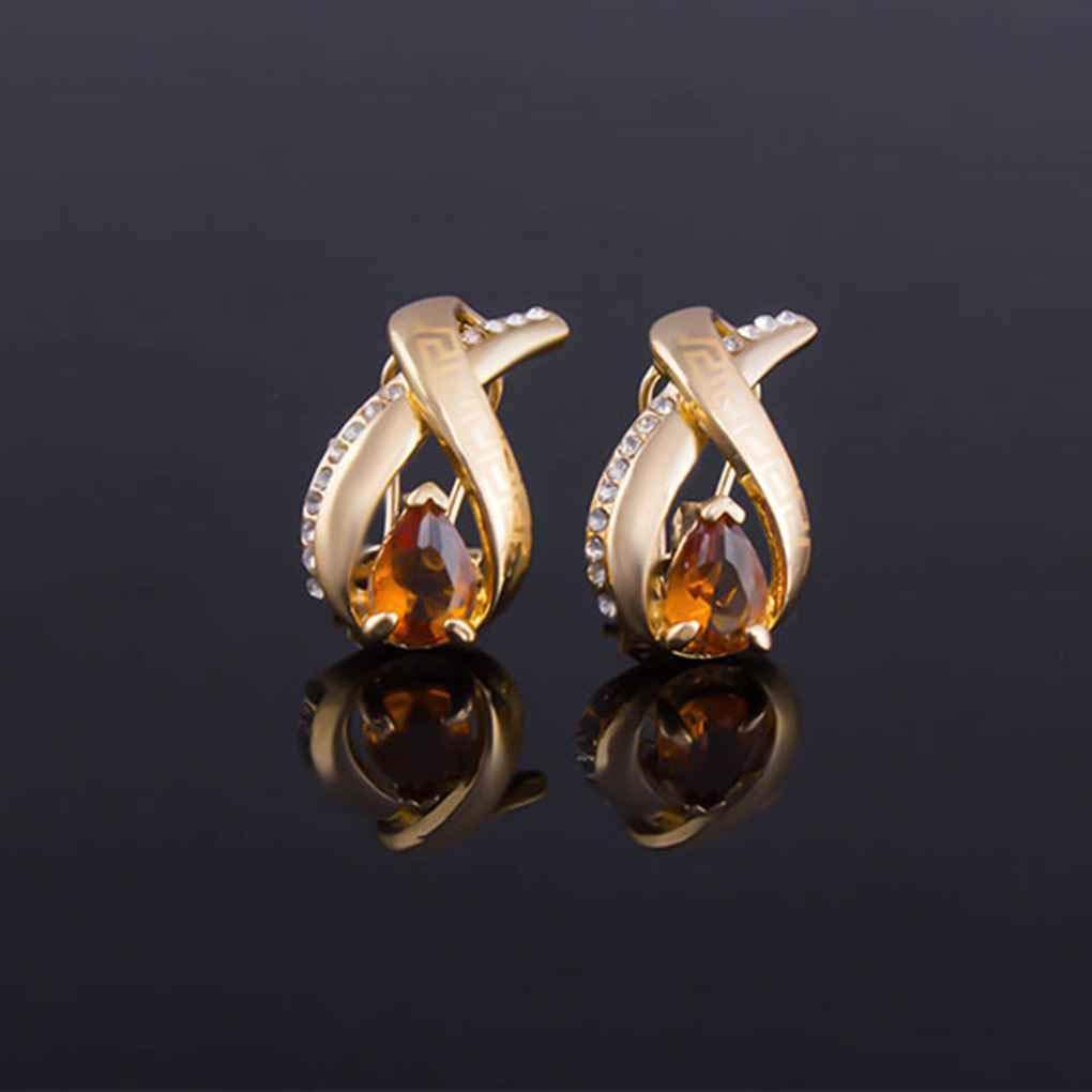 Laileya Pendientes del Anillo Pulsera del Collar de la Piedra Preciosa Elegante de Oro Chapado de aleaci/ón Sistema de la joyer/ía