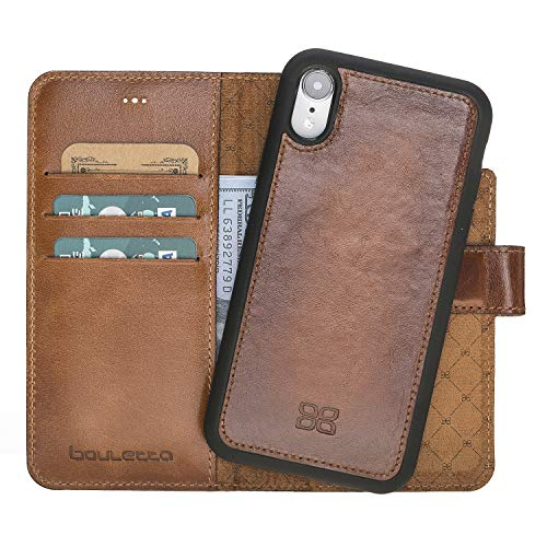 Bouletta Case Magnetic Detachable Leather Case, Genuine Vegetable Tanned Wallet Case for Apple iPhone XR (Rustic Tan with Effect)