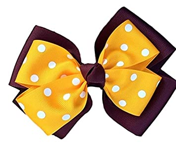 1ac8cb9065fe Amazon.com   Victory Bows Polka Dot Double Quad Grosgrain Hair Bow- The  Siena Marie Maroon and Gold- Made in the USA French Clip   Beauty