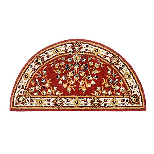 Oriental Virgin Wool Hearth Rug - Minuteman International Burgundy Oriental Wool Hearth Rug, Half Round