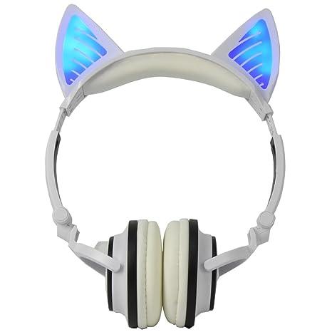 Auriculares Bluetooth Plegables Auriculares con oreja de gato LED para niños Blanco