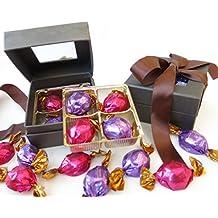 Godiva brown ribbon gift box for dads valentine, elegant window chocolate gift box includes milk and dark godiva truffles.