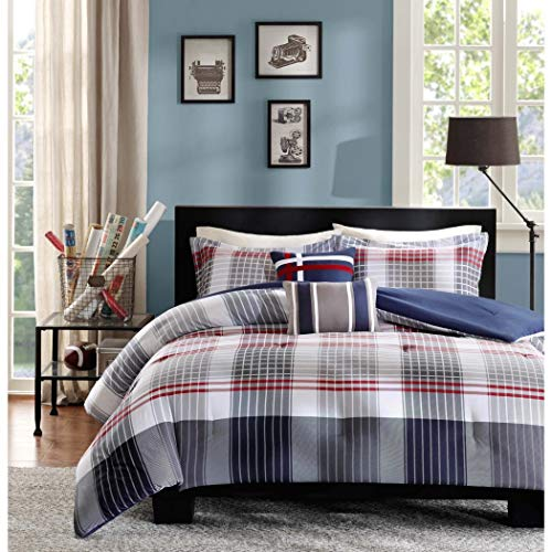 (5 Piece Boys Grey Red Navy Blue Madras Glen Plaid Theme Comforter Full Queen Set, Stylish All Over Tartan Check Plaided Bedding, Horizontal Vertical Stripe Lodge Cabin Themed Pattern)
