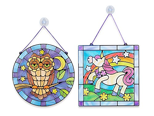 Melissa & Doug Stained Glass Made Easy Activity Kits Set: Owl and Unicorn - 180+ Stickers (Glass Mermaid Stained)