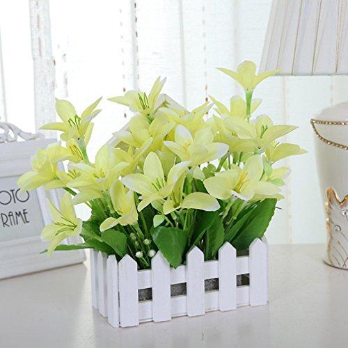 C&L Simulated Silk Flower Set Flower Wall Fence Flower Fake Flower Wall Flower House Living Room Decorative Flower (Yellow)