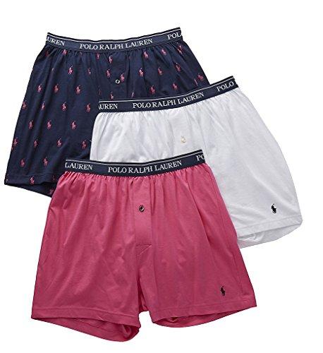 Polo Ralph Lauren Classic Fit 100% Cotton Knit Boxers - 3 Pack (LCKBS3) M/Navy - Lauren Ralph Men For By Polo