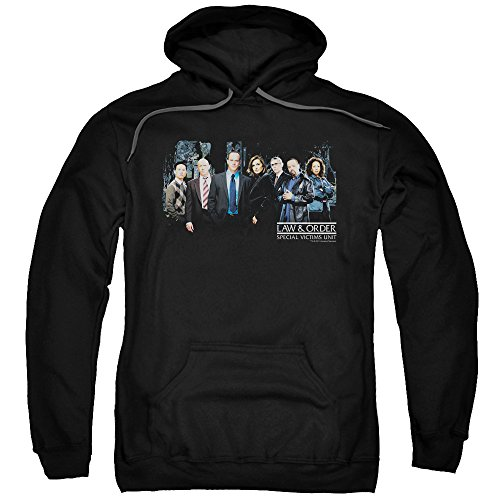 Trevco Law and Order SVU Cast Unisex Adult Pull-Over Hoodie for Men and Women, Medium Black