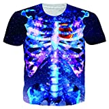 Alistyle Unisex 3D Galaxy Skull T Shirts Couples Short Sleeve T-Shirts Casual Festivel Collection Tees