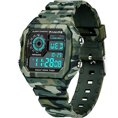 Watch Water Resistant Outdoor Waterproof LED Screen Military Watches and Camouflage Electronic Simple Army Watch with Alarm, Stopwatch, Luminous Night Light for Men ()