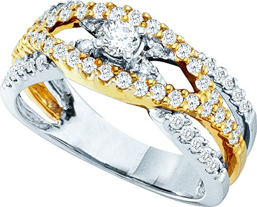 14kt White Gold Womens Round Diamond Solitaire Two-tone Bridal Wedding Engagement Ring 3/4 Cttw by JawaFashion
