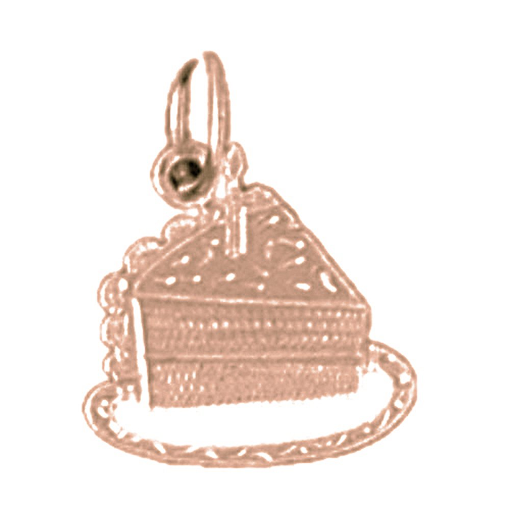 Jewels Obsession Slice Of Cake Necklace 14K Rose Gold-plated 925 Silver Slice Of Cake Pendant with 16 Necklace