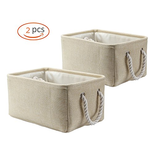 Biubee Collapsible Diaper Storage Bin (2 Pack) Foldable Organizer Baskets with Handle for Toys ,Blankets and Laundry, Closet Storage Magazines and Craft Supplies (Linen Closet Baskets)