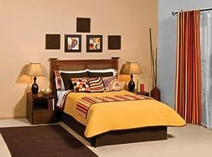 Orange Stripes Comforter Sheets Bedding Set Twin 9 Pcs