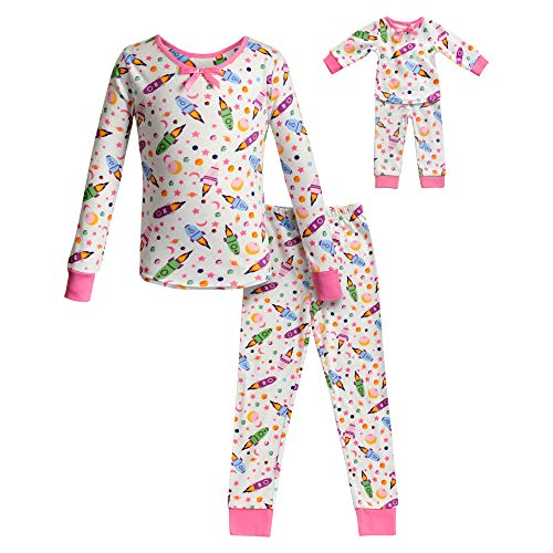 Dollie & Me Girls' Apparel Snug Fit Sleepwear Set and Matching Doll Outfit in, Ivory/Pink, Size 4 ()