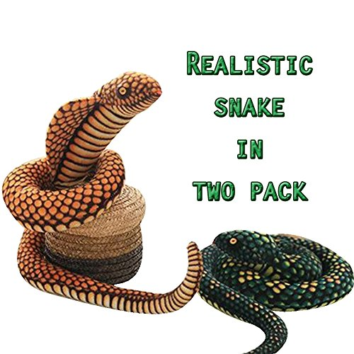 [Two Realistic Soft Puppet Snake in one Package as picture/ Christmas Gift/ Easter/ Present/ Valentine Day/ Scary Snake] (Pictures Of Scary Puppets)