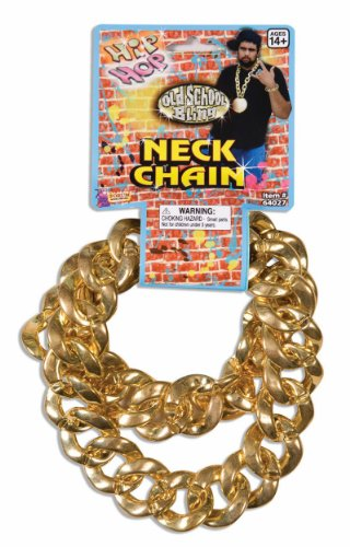 Gold Costumes Necklace (80'S Big Links Neck Chain Gold)
