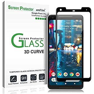 amFilm Glass Screen Protector for Google Pixel 2 XL, Tempered Glass, 3D Curved