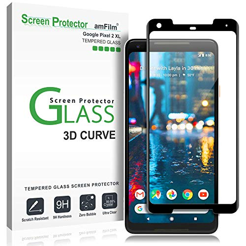 amFilm Glass Screen Protector for Google Pixel 2 XL, Tempered Glass, 3D Curved (Best Google Pixel 2 Screen Protector)