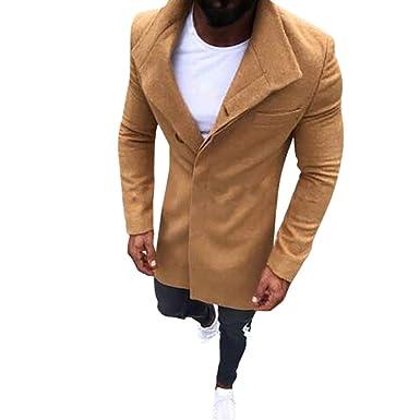 ♚ Abrigo Largo de los Hombres, Moda de Invierno de los Hombres Cálido Slim Fit Trench Coat Jacket de Manga Larga Outwear Top Absolute: Amazon.es: Ropa y ...