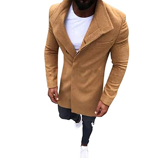 latest selection of 2019 discount coupon new lower prices Mens Trench Coat Slim Fit Notched Collar Overcoat, Long Wool ...