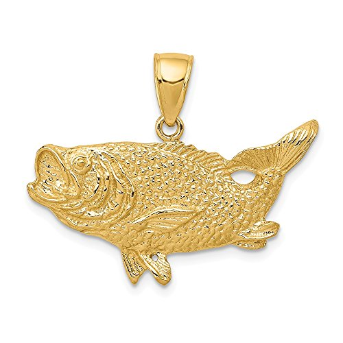 - 14k Yellow Gold Largemouth Bass Pendant