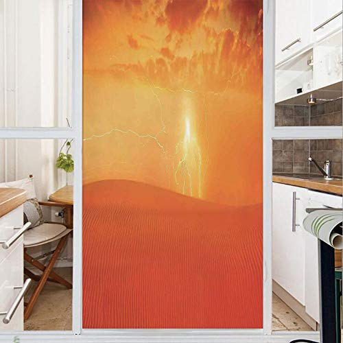 (Decorative Window Film,No Glue Frosted Privacy Film,Stained Glass Door Film,Hot Arabian Desert Landscape Dramatic Sunset in Sand Dune Wilderness Nature Theme,for Home & Office,23.6In. by 78.7In Red Or)
