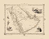Old Middle East Map - Arabian Peninsula - Tallis 1851 - 23 x 28.83 - Glossy Satin Paper