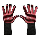 BingYELH BBQ Grill Gloves Heat Resistant Oven Mitts Silicone Glove Fireproof Barbecue Potholders Heat-Insulated Mitt Extra Long