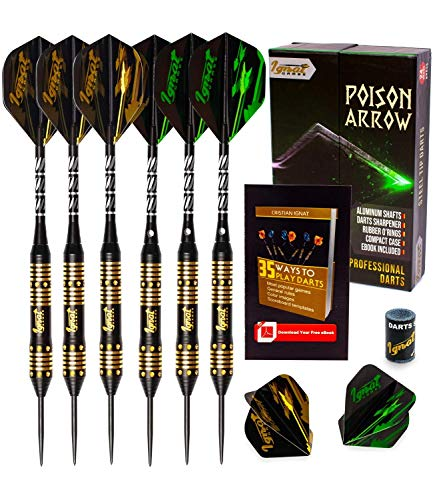 IgnatGames Steel Tip Darts - Professional Darts Set with Aluminum Shafts and Flights + Dart Sharpener + Innovative Case (24g Poison Arrow) (Best Dart Board For The Money)