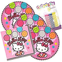 Hello Kitty Balloon Dreams Party Plates and Napkins Serves 16 With Birthday Candles