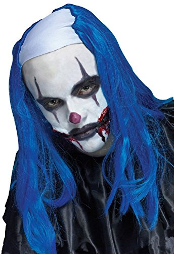Fun World Creepy Clown Wig Blue Adult