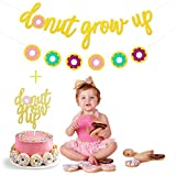 Gold Glitter Donut Grow Up Banner and Donut Grow Up Cake Toppers for Donut Themed Happy Birthday Baby 1st Birthday Party Decoration Bunting Photo Props,Themes Party Supplies for Kids Birthday Party Decorations