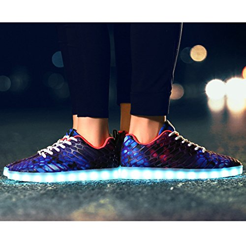 YIBLBOX LED Light-Up Sport Shoes Couple Women Men Rechargeable Sneakers for Valentine's Day Christmas Halloween Purple 1 q9IEh1I