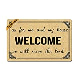 Artsbaba Christian Gifts Doormat As For Me And My House Door Mat Rubber Non-Slip Entrance Rug Floor Mat Entry Door Mat Funny Home Decor Inside Mat Housewarming Gift 23.6 x15.7 Inches