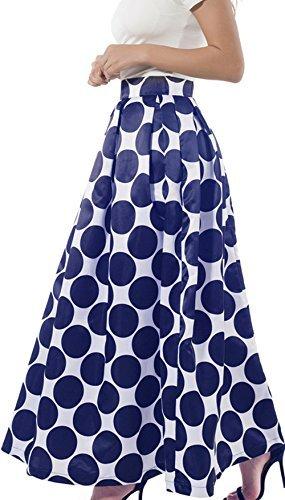 NINEWE Womens Vintage Polka Dots A-Line Skater Skirt Maxi Wedding Ball Gown Bluepot US14 by NINEWE
